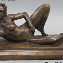 Скульптура Западное искусство деко бронзовая Медь ложиться-вниз Oomph Обнаженная девушка статуя красавицы