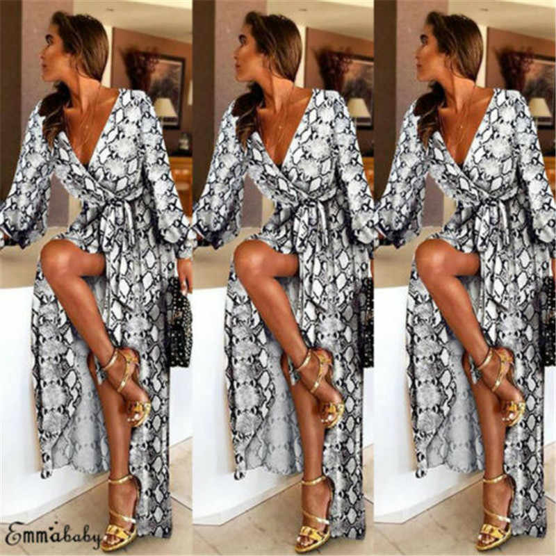 Elegant Formal Long Dresses For Women Sexy Boat Neck Glitter Deep V Neck Print Party Dress Bohemian Retro Dress Female Vestido