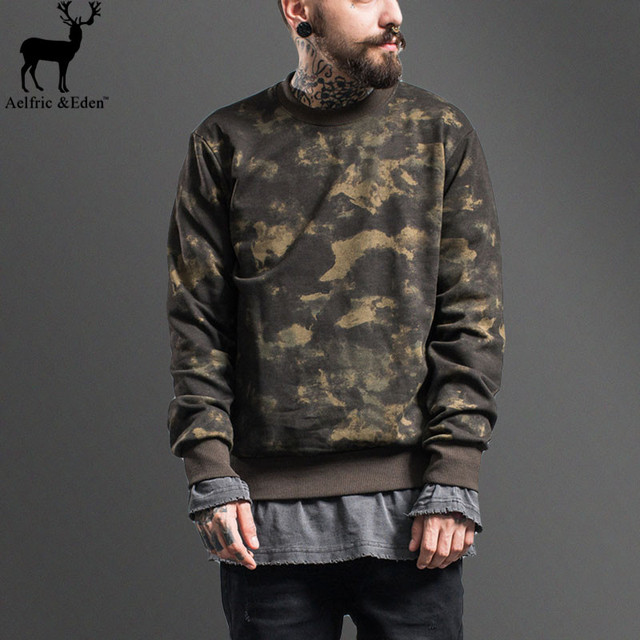 2017 Brand Warm Autumn Winter Hoodies Men Army Camouflage Yeezy Long Sleeve Men Streetwear Hip Hop Pullover Tour Sweatshirt Man