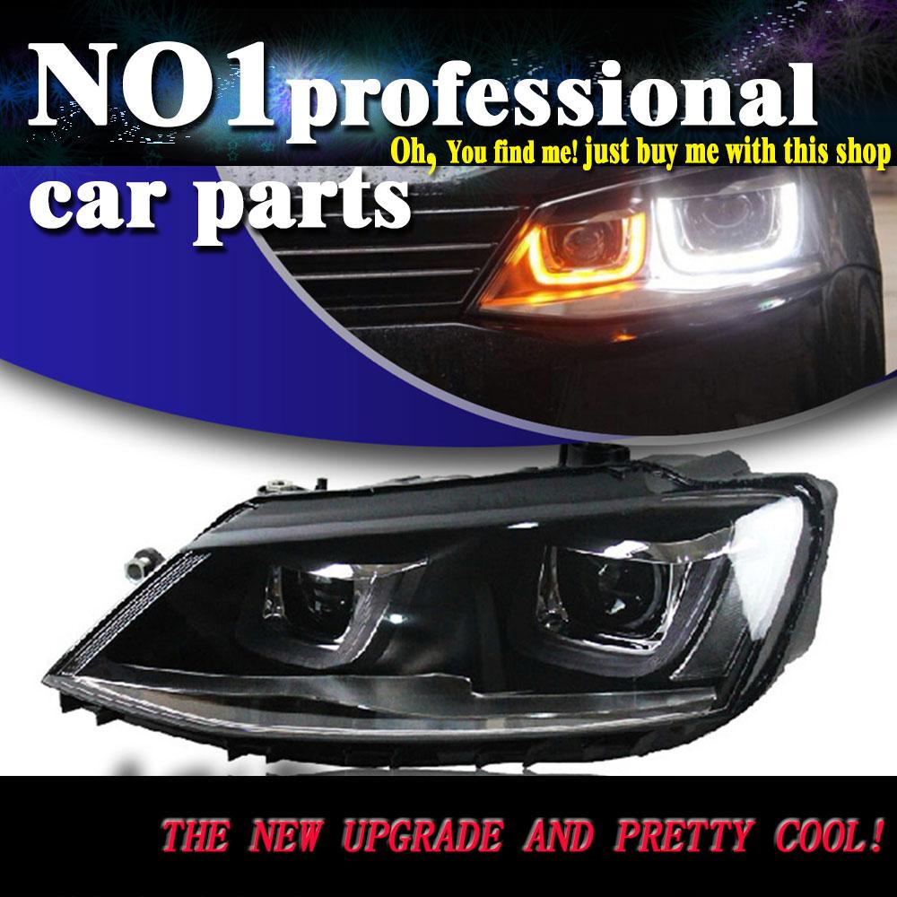 Car styling l mpara principal 2011 2015 para jetta mk6 faros led drl frente cabeza de
