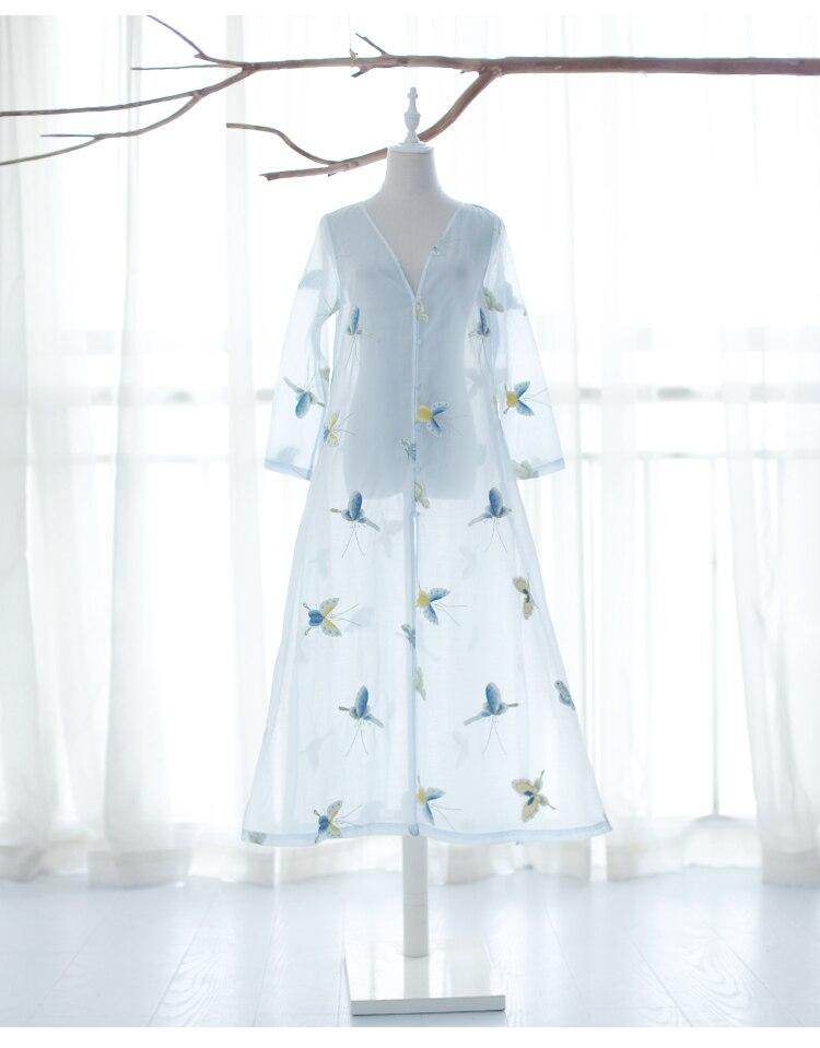 Lado divide longo borboleta IRINAW682 nova chegada do verão 2018 do vintage bordado camisa das mulheres - 5