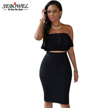 2016 Fashion Women Strapless Ruffles Off Shoulder Two Piece Dress Summer Sexy Vestidos Ladies Backless Package Hip Club Dresses