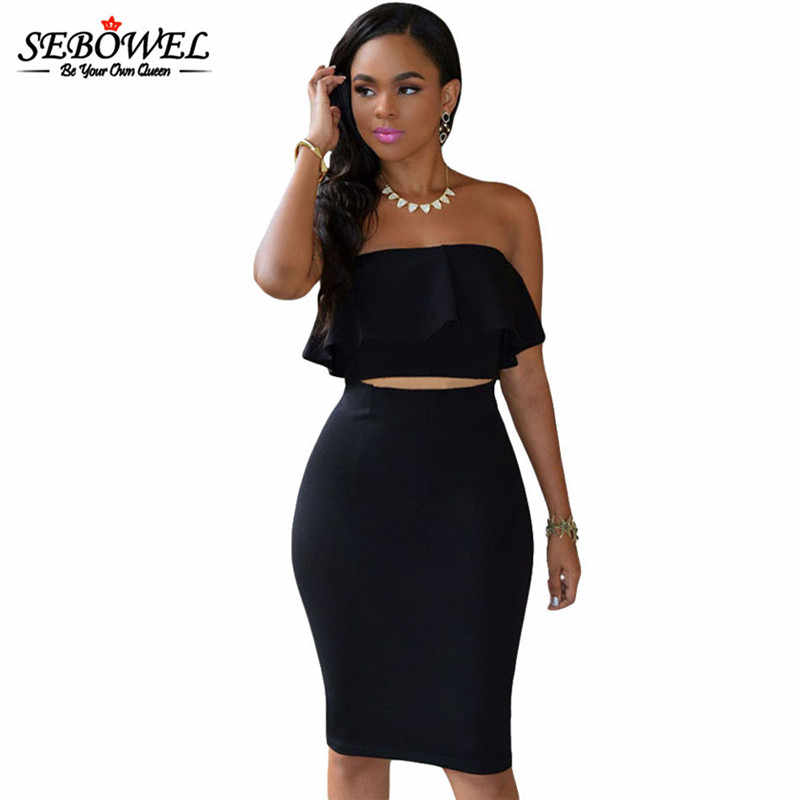 9b60cb3ac992 SEBOWEL Sexy Elegant Strapless Bodycon Party Club Dress Women Two Piece  Dress Sleeveless Crop Top &