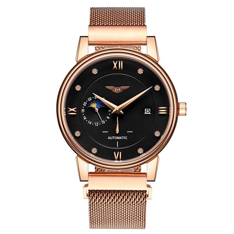 Здесь можно купить  GUANQIN GJ16039 2017 Automatic Watch Men Fashion Mechanical Wrist watches Waterproof Steel Strap Calendar and Moon Phase  Часы