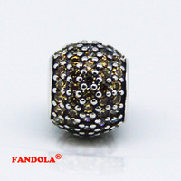 Fits Pandora Bracelet Fancy Golden Crystal Pave Ball Charms Beads Authentic 925 Sterling Silver Charm Women