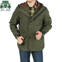 AFS JEEP Black Khaki Army Green Men S Original Cotton Long Jacket Real Men Autumn Outdoor