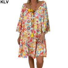 Women Boho Summer Floral Long Sleeve Holiday Beach Shirt Dress Mini Dress все цены