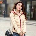 Пальто женщин новый 2016 осенью и зимой куртка женщин тонкий короткий хлопок-ватник верхняя одежда зимнее пальто женщины плюс размер