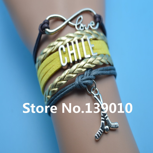 Infinity Love Chile Hockey Bracelets Gold Yellow Gray Brown Leather Suede Rope Customize Women Men Football