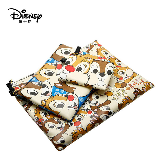 Disney Cosmetic-Bag Storage And Portable Fashion 3pcs Chip Multi-Function Dale Authentic
