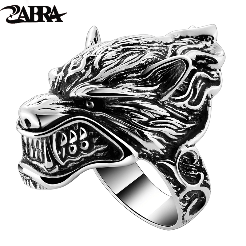 Solid 925 Sterling Silver Wolf Mens Biker Ring Game Of Throne House Stark of Winterfell Direwolf