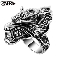 Solid 925 Sterling Silver Wolf Mens Biker Ring Game Of Throne House Stark of Winterfell Direwolf Vintage Punk Rock Gothic Rings