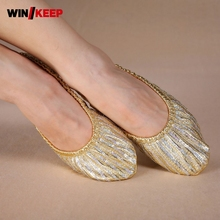 2018 New Ruled Gold Training Belly Dance Shoes Practice Women Gold Leather Shoes Female Slip On Pointe Shoes For Girls 34-41