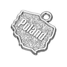 50PCS Silver Poland Country Map Dangle Charms DIY Accessories For Bracelet&Necklace Jewelry(China)