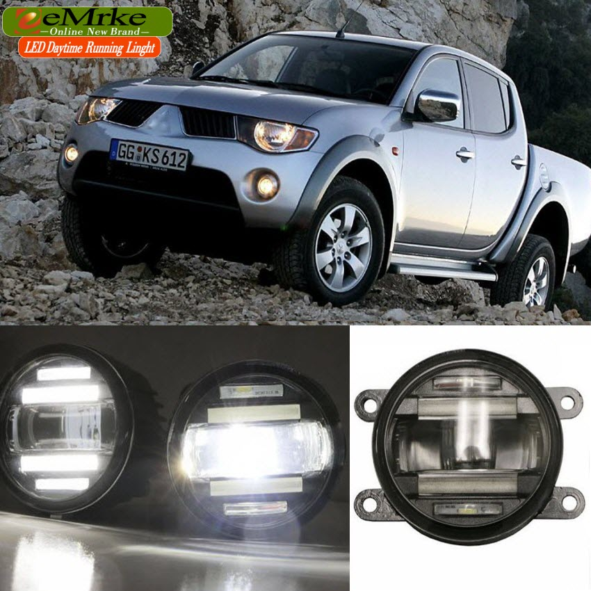 eeMrke Car Styling For Mitsubishi L200 2005- up in 1 LED Fog Light Lamp DRL With Lens Daytime Running Lights eemrke car styling for opel zafira opc 2005 2011 2 in 1 led fog light lamp drl with lens daytime running lights