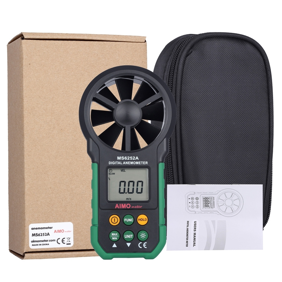 AIMOMETER MS6252A Handheld Digital Anemometer LCD Backlight Air Wind Speed Velocity Meter Measuring Instruments цена
