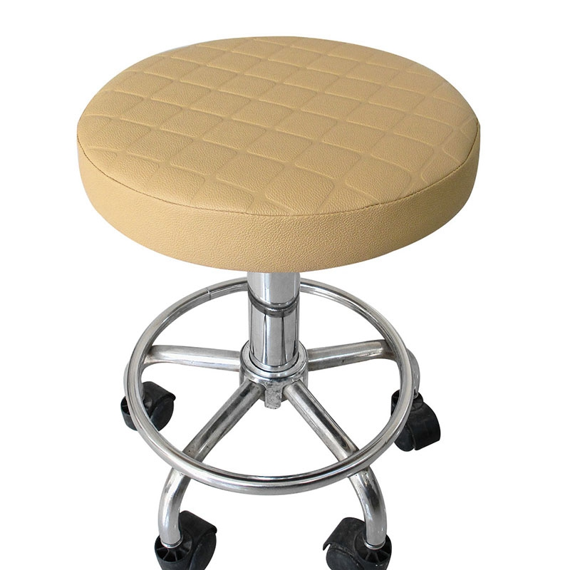 Round Stool Cover Plaid Chair Cover Bar Stool Slipcover Elastic Stool Seat Covers Home Thicken Slipcover 5 Colors