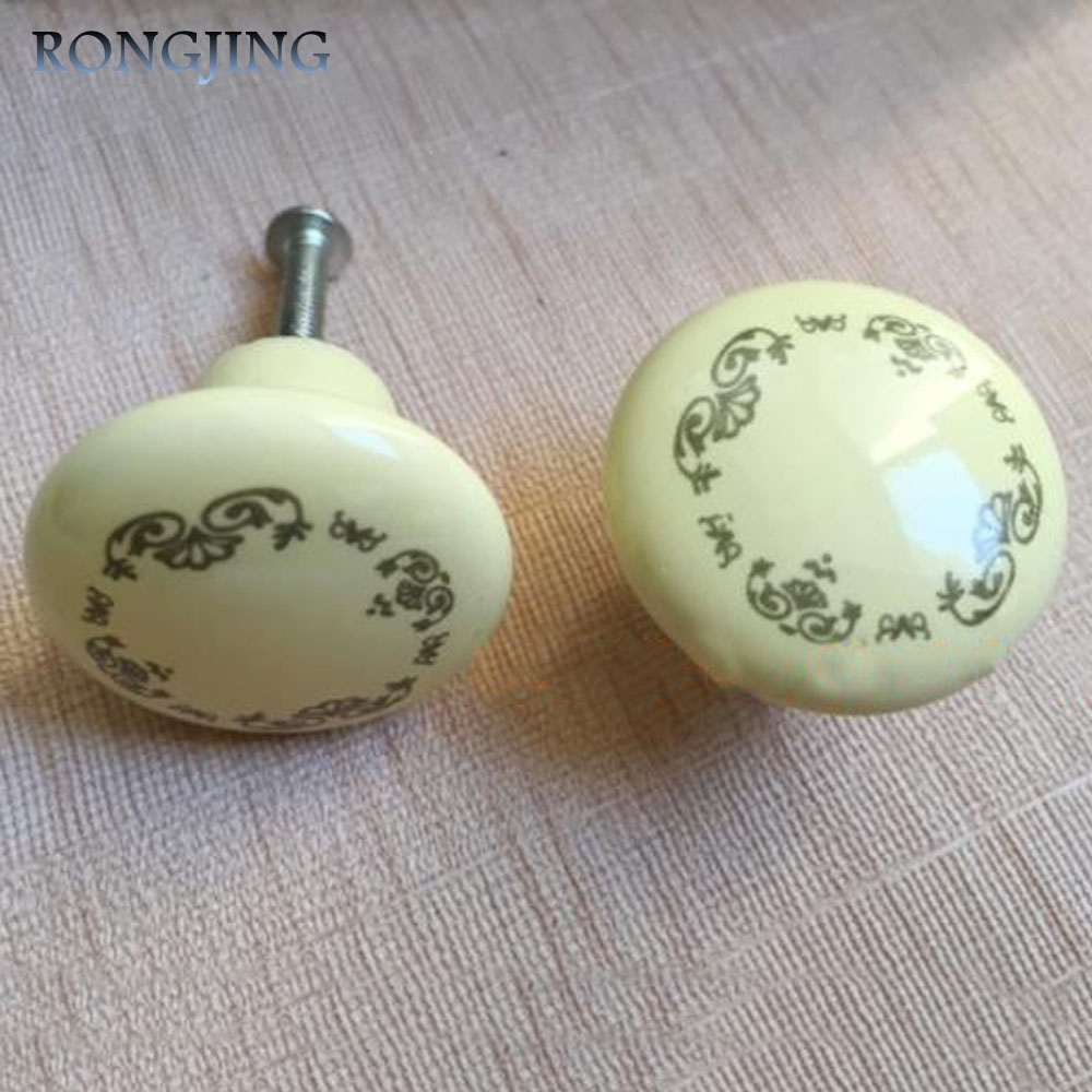 5x Ceramic Kitchen Cabinet Drawer Knobs Porcelain Kids Wardrobe Handles Furniture Dresser Closet Cupboard Rural Antique Pulls