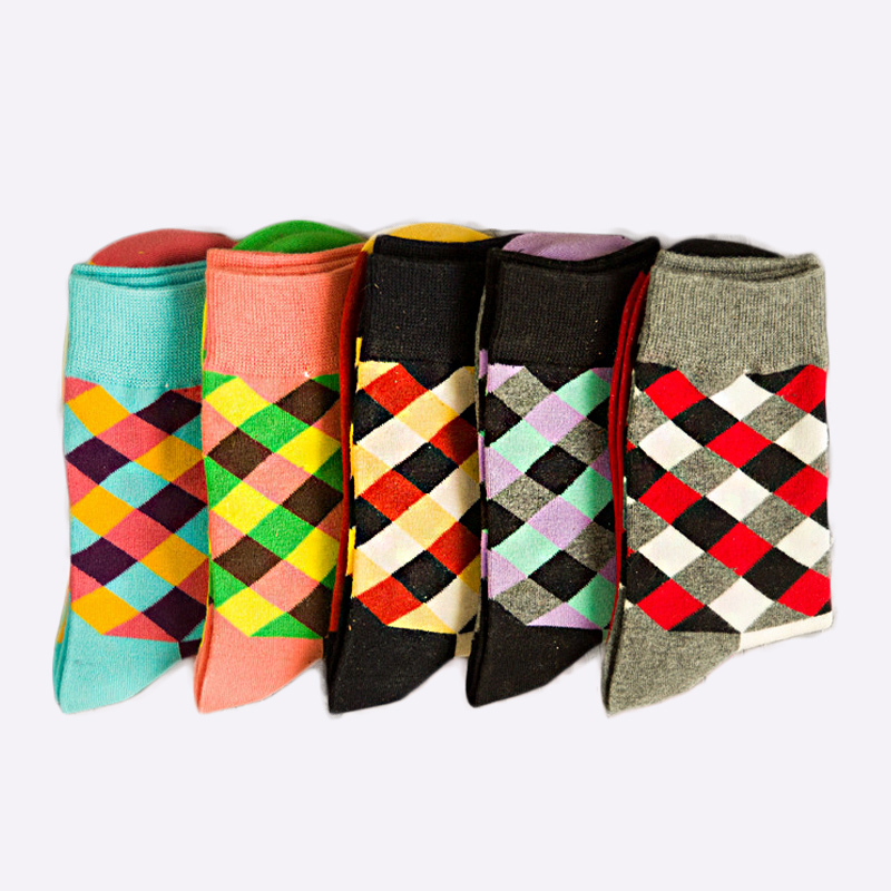 PEONFLY New Pattern Full England Wind Colour Lattice Originality Tide Pure Cotton Autumn And Winter In Canister Male men Socks
