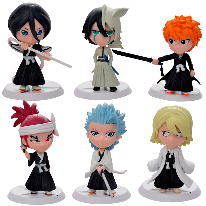 6pc/set Bleach Ichigo Ulquiorra cifer Renji Gin Action Figures Anime PVC brinquedos Collection Figures toys for Birthday gifts