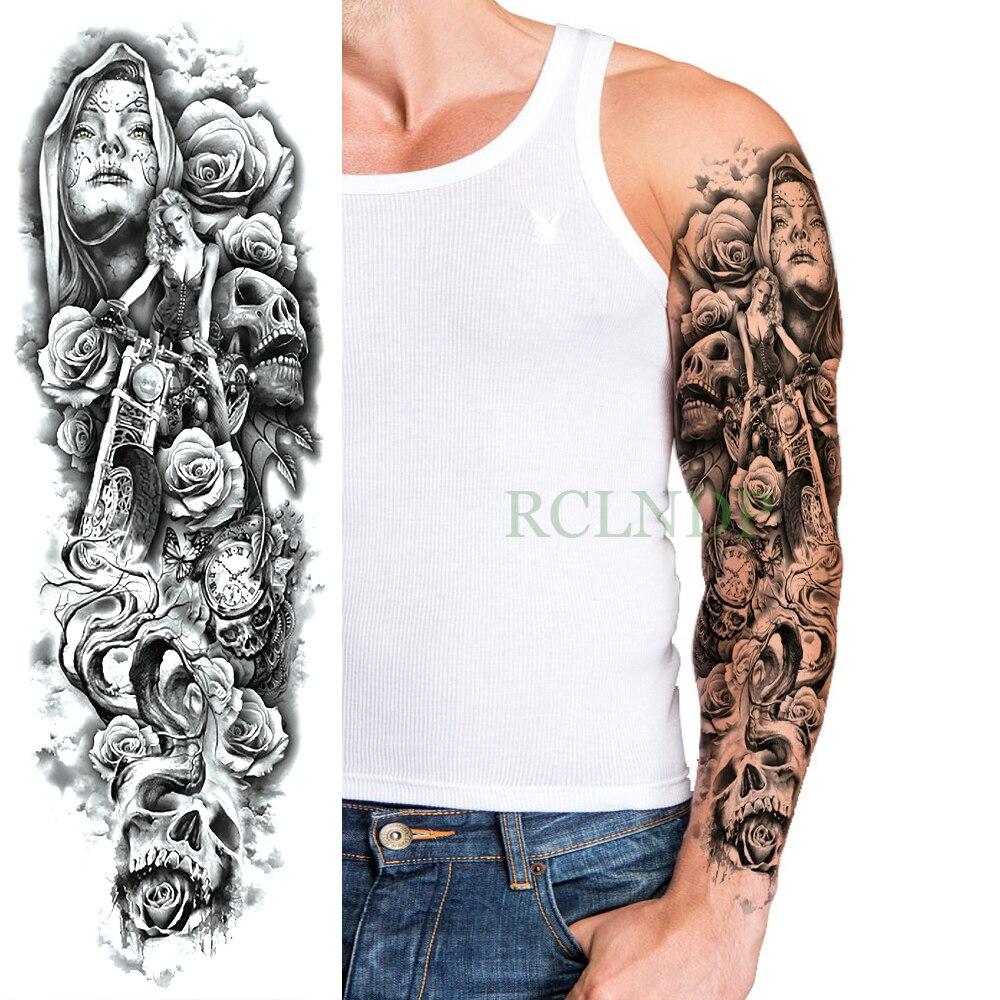 Waterproof Temporary Tattoo Sticker Skull Motorcycle Rose Full Arm Large Size Fake Tatto Flash Tatoo Sleeve For Men Women Girl