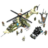 976Pcs Hind Transport Building Blocks Compatible Legoings Military WW2 Army Soldier Figures Weapons Tanks Set Toys for Children