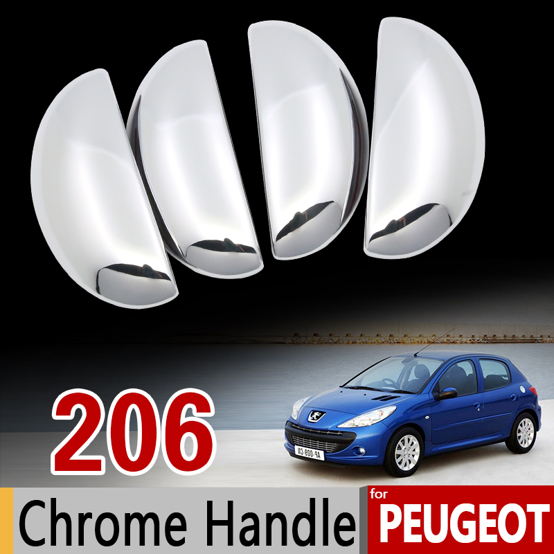 for Peugeot 206 206+ 206sw 206cc Sedan Chrome Handle Cover Trim Set 1998 1999 2002 2005 2006 Car Accessories Sticker Car Styling diameter 38cm carbon fiber car steering wheel cover for peugeot 206 2003 206 cc 2005 car styling