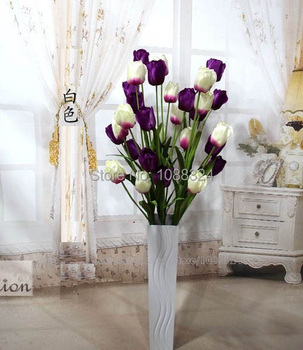 Silk Tulip with vase  ,Craft fabric real touch flower ,Home Decor  Wedding Party  Event artificial  tulip set ,  code 0382