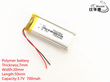 Darmowa wysyłka 1 sztuk/partia 3.7 V 700 mAh 702050 litowo-polimerowy LiPo akumulator do GPS, mp3, mp4