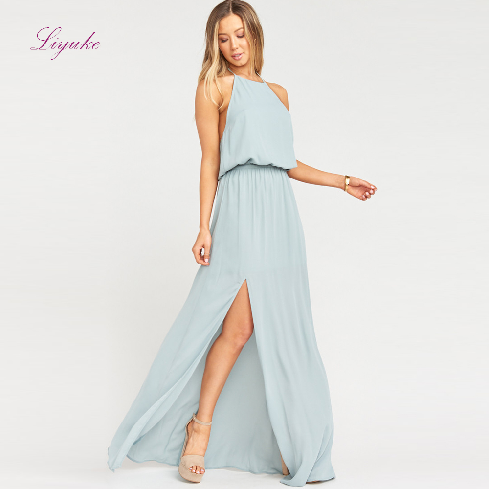Liyuke A line   Bridesmaid     Dress   Long   Dress   Halter Neck Backless Splited Chiffon Simple Design Customized Free Shipping