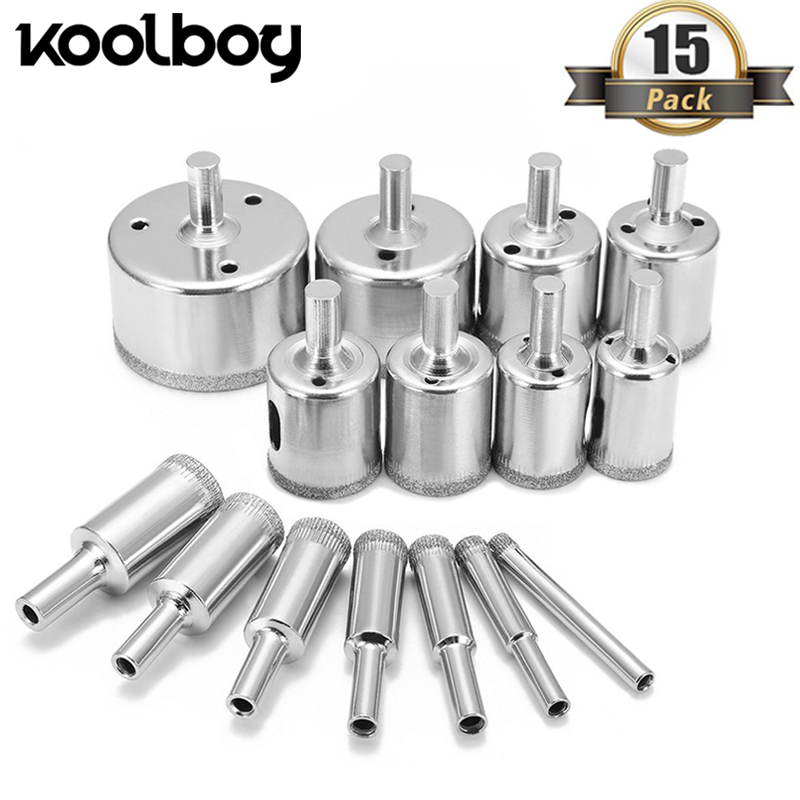 15Pcs 6-50mm Diamond Drill Bit Set Hole Cutter Drill Bit Hole Saw Set Tools For Marble Bottles Ceramic Tile Glass Cutters