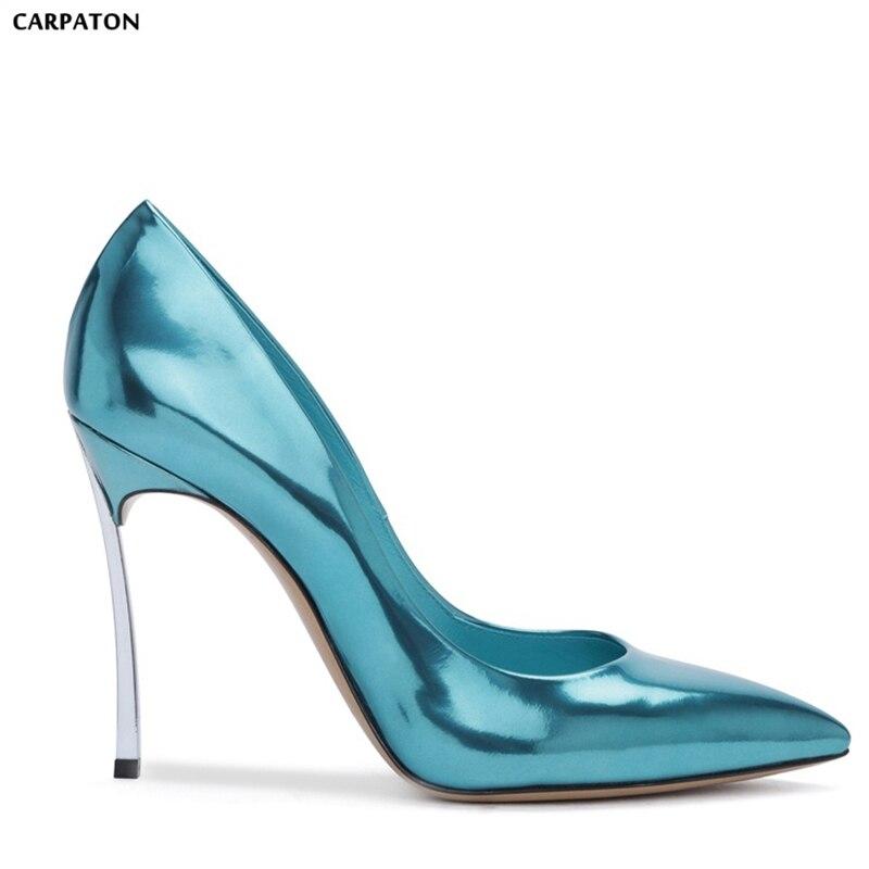 Peu Bout Sexy Talons Mince Date Pointu Profonde Femmes Style Mariage De Cuir Chaussures Haute Classique Carpaton Verni 2018 PqwgO