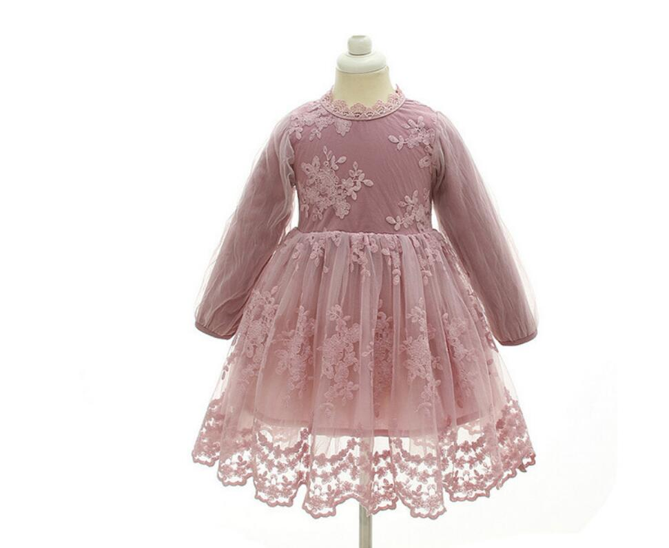 New Boutique Fairy Pink Lace Embroidery Long Sleeve Dresses For Girls Princess Children Flower Dress 6 pcs/lot, Wholesale guess new pink long sleeve ruched body con dress xl $89 dbfl