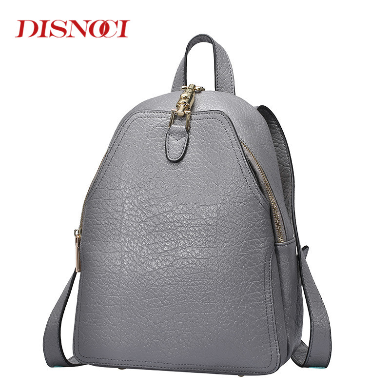DISNOCI Woman Backpacks High Quality Genuine Leather Bags Teenager Girls Women Travel Backpack Black Grey Ladies Shoulder Bags zooler women s backpack eyes sequined designer black cartoon eyes backpacks travel bag cute shell backpacks for teenager girls