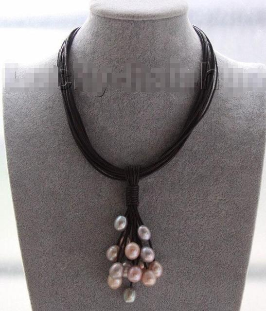 "Hot sale new Style >>>>>16"" 14mm gray purple pink pearls wine red leather necklace magnet clasp j9568"
