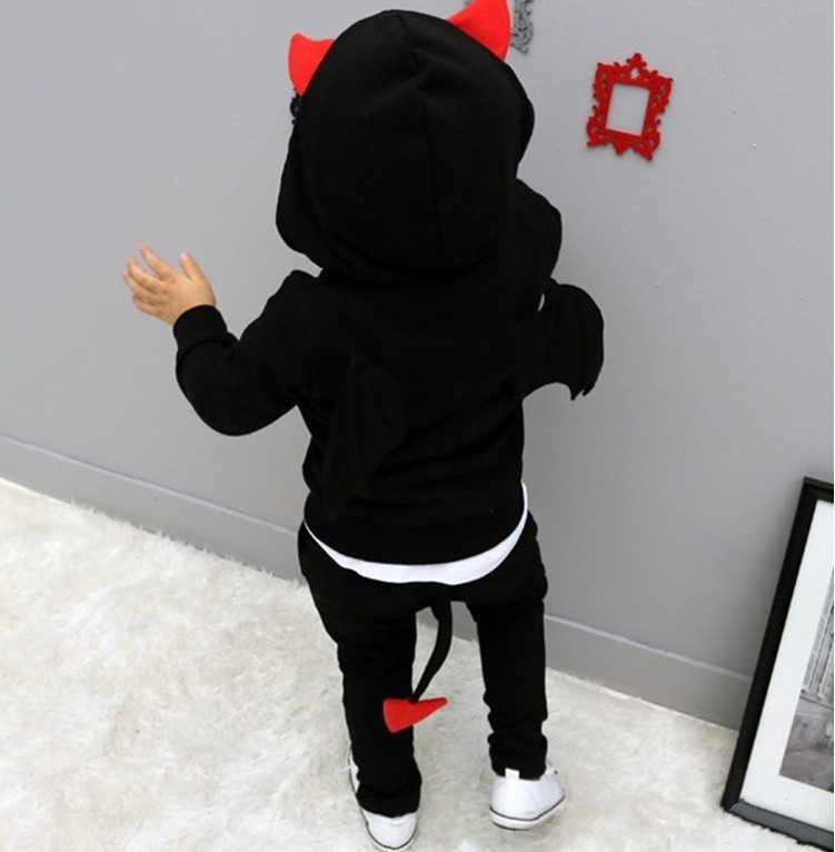 Children Spring Autumn clothes Devil wings sports suits boys solid cotton clothing sets long sleeves pullover hooded wear (7)