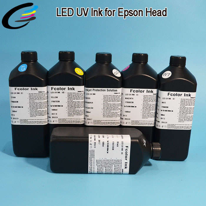 C, M, Y, K, White, Clear Roland LEC-540 LEC-330 LEC-300 LED UV Curable Inkjet Printer Ink 1000 ML led uv curable ink for epson 1390 printer head printing on hard materials for 3d effects 1000ml pcs 6c