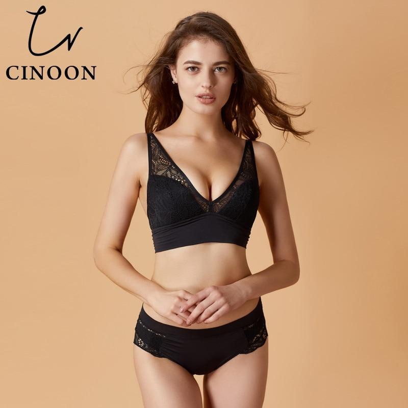 CINOON 2018 New Fashion Women   bra   and panty   set   Sexy Lace lingerie Push Up   bra   Wireless for Women 3/4 cup brassier underwear   set