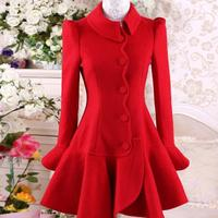 autumn and winter red flounced Slim ladies fashion woolen coat women