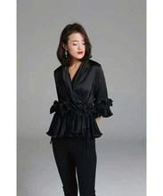 Fashion 2018 New Women Solid Casual V-Neck Lace Up Ruffles Shirts Three Quarter Vintage Sleeve Chiffon Blouses