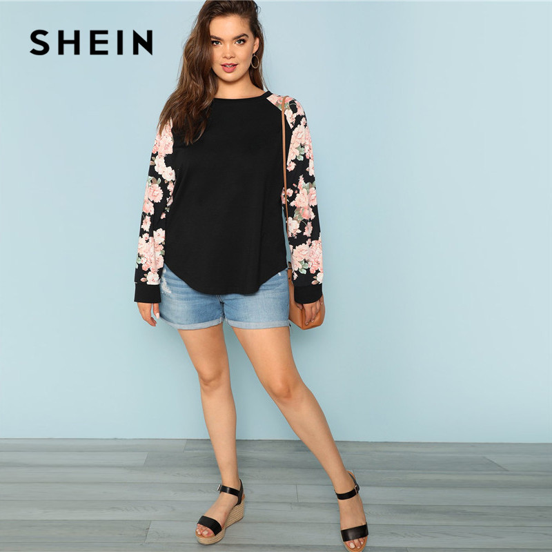 SHEIN Floral Print Raglan Sleeve Casual Plus Size Black Womens Top Tees 2018 Autumn New Round Neck Long Sleeve Workwear T Shirt 5