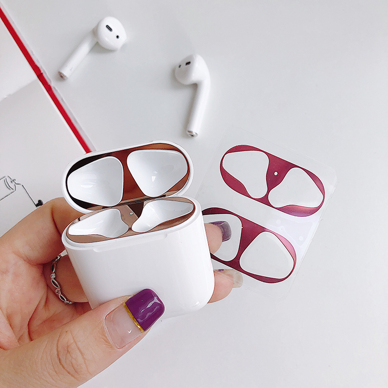 Image 2 - Plating Metal Dust Guard For Apple Airpods Dust Patch Air Pods Case Protection Sticker Earphone Case 18K Gold Plating Stickers-in Earphone Accessories from Consumer Electronics