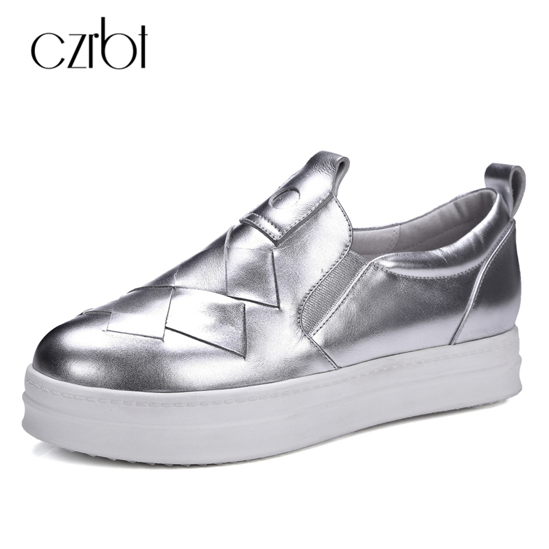 CZRBT Genuine Leather Women Shoes Casual Flat Shoes Women Spring Autumn Top Quality Cow Leather Comfortable Loafers Size 34-42 sgesvier comfortable senior leather fabrics simple and easy red green and four color yellow women flat shoes size 34 41 xt21