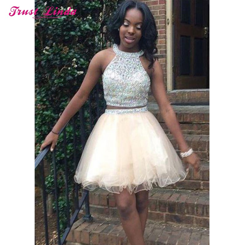 Sparkly Beaded African Formal Dresses Sleeveless O Neck Rhinestone Graduation Dresses Two Piece Prom Dresses Short