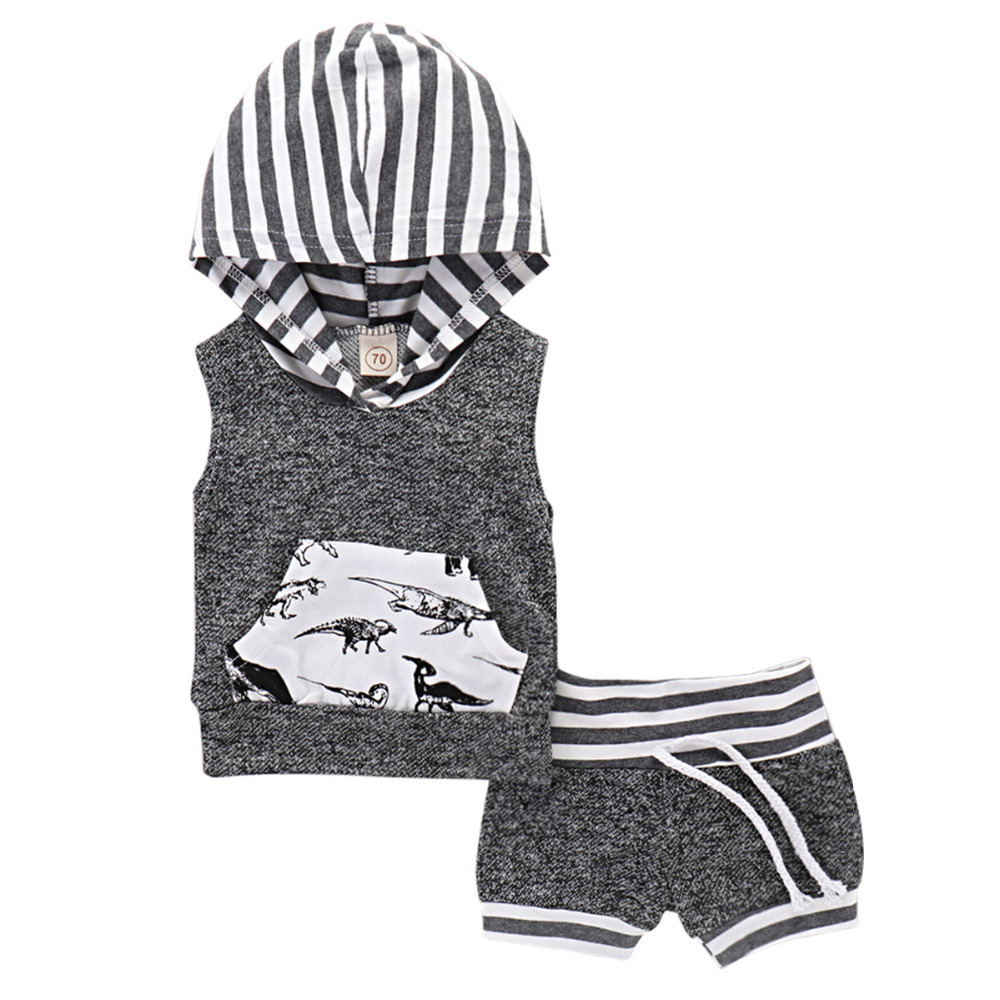 Hot Sale Boys Clothing Children Summer Boys Clothes Hooded Sleeveless Suit Set T-shirt+Pants 2Pcs/set Boys Fashion Summer Sets.