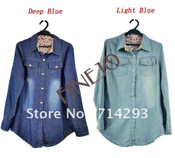 Women's Retro Long Sleeve Blue Jean Vintage Blouse Shirt Tops New Free Shipping 7501