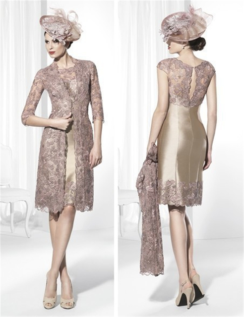 Champagne Lace Mother of the Bride Dresses with Long Jacket Knee Length  2016 Elegant Pant Suits 4606c7eec2b9