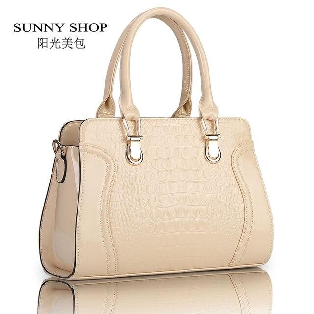 SUNNY SHOP  Fashion alligator pattern handbag patent PU leather casual shoulder bag women designer messenger bag 45Z