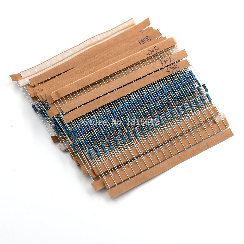 600PCS/LOT 1/4W Metal Film Resistor Kit 1% Resistor Assorted Kit Set 10 ohm-1M ohm Resistance Pack 30 Values each 20 pcs tolerance 1% 5w 1g ohm high voltage resistor red