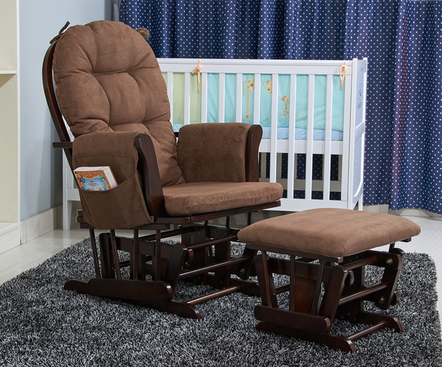 Wood Rocking Chair Rocker And Ottoman Living Room Furniture Modern Ergonomic Cushioned Large Brown Rocking Chair Feeding Baby